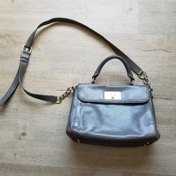 Kate spade irving gray leather satchel purse